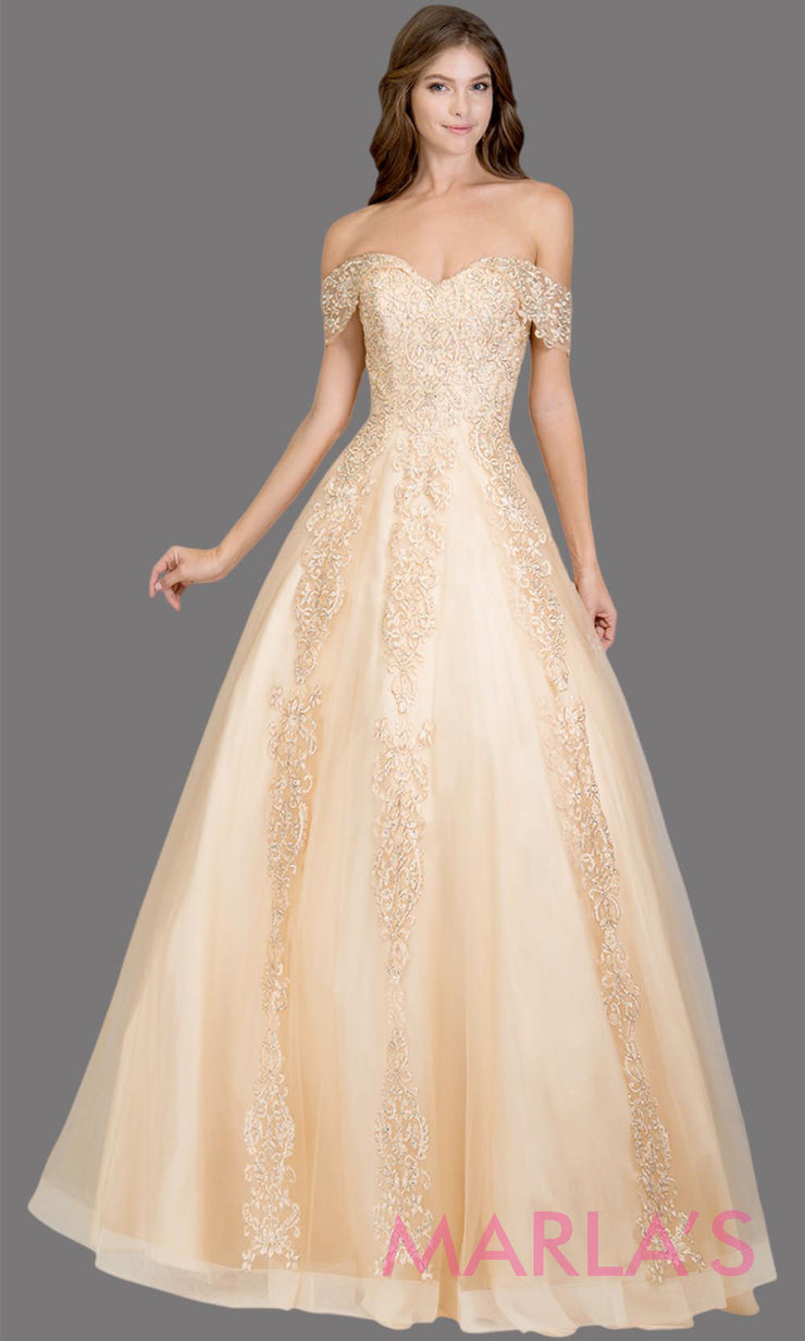 Long champagne semi ball gown off shoulder lace evening gown. This light gold formal a line gown is perfect as a prom dress, wedding reception or engagement dress, indowestern formal party gown, sweet 16 dress, quinceanera.Plus Sizes avail