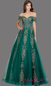 Long emerald green semi ball gown off shoulder lace evening gown. This dark green formal a line gown is perfect as a prom dress, wedding reception or engagement dress, indowestern formal party gown, sweet 16 dress, quinceanera.Plus Sizes avail