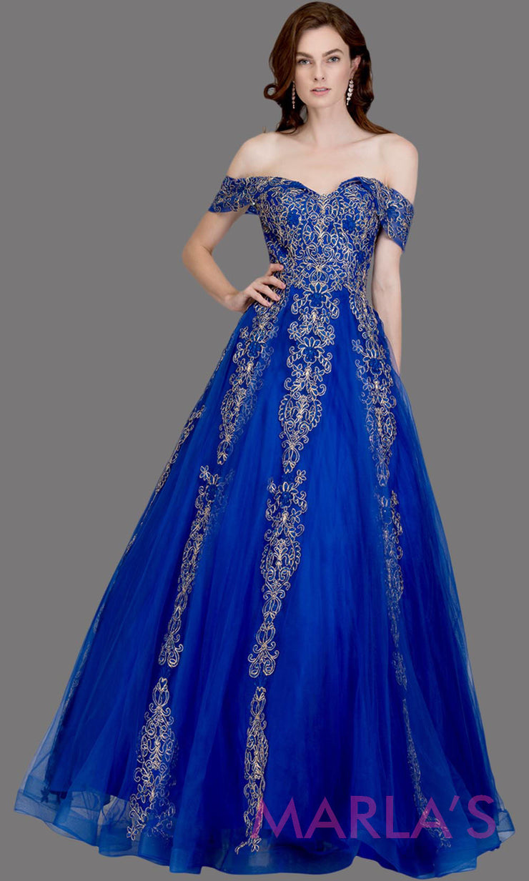 Long royal blue semi ball gown off shoulder lace evening gown. This royal blue formal a line gown is perfect as a prom dress, wedding reception or engagement dress, indowestern formal party gown, sweet 16 dress, quinceanera. Plus Sizes avail