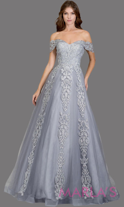 Long silver gray semi ball gown off shoulder lace evening gown. This light grey formal a line gown is perfect as a prom dress, wedding reception or engagement dress, indowestern formal party gown, sweet 16 dress, quinceanera.Plus Sizes avail