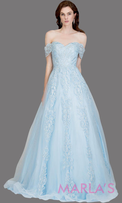Long sky blue semi ball gown off shoulder lace evening gown. This light blue formal a line gown is perfect as a blue prom dress, wedding reception or engagement dress, indowestern formal party gown, sweet 16 dress, quinceanera.Plus Sizes avail