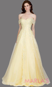 Long yellow semi ball gown off shoulder lace evening gown. This light yellow formal a line gown is perfect as a prom dress, wedding reception or engagement dress, indowestern formal party gown, sweet 16 dress, quinceanera.Plus Sizes avail