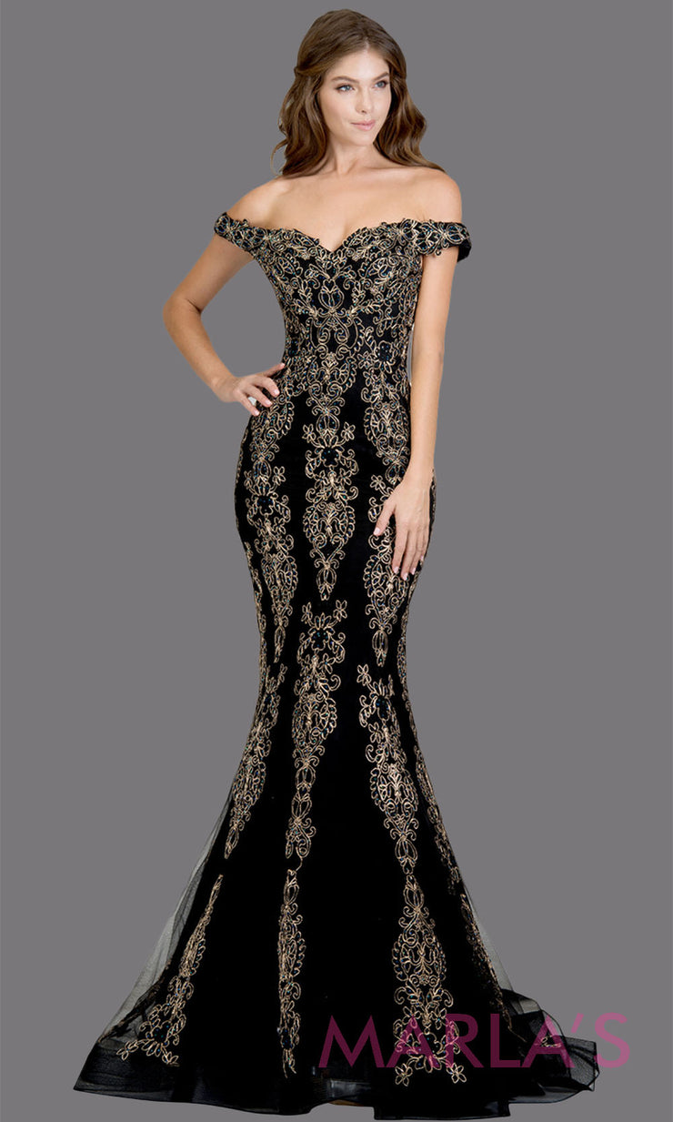 Long black fitted mermaid evening gown with contrast gold lace. This off shoulder formal gown is perfect as a black prom dress, wedding reception or engagement dress, formal wedding guest dress, indowestern formal evening gown.Plus sizes avail