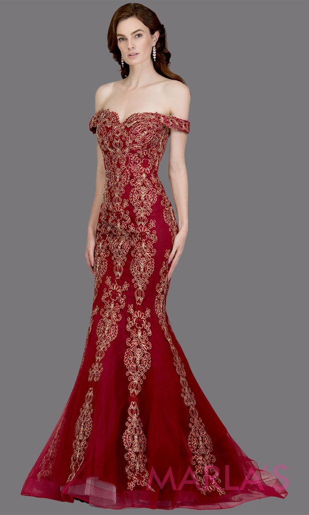 Long burgundy fitted mermaid evening gown with contrast gold lace.This off shoulder formal gown is perfect as a red prom dress, wedding reception or engagement dress,formal wedding guest dress,indowestern formal evening gown.Plus sizes avail