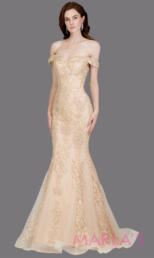 Long champagne gold fitted mermaid evening gown with contrast gold lace. This off shoulder gown is perfect as gold prom dress, wedding reception or engagement dress, formal wedding guest dress, indowestern formal evening gown.Plus sizes avail