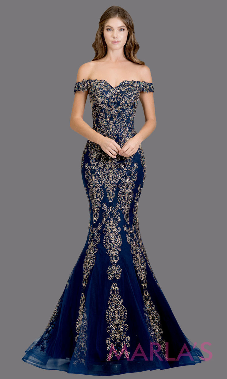 Long navy blue fitted mermaid evening gown w contrast gold lace. This off shoulder formal gown is perfect as blue prom dress, wedding reception or engagement dress, formal wedding guest dress, indowestern formal evening gown.Plus sizes avail