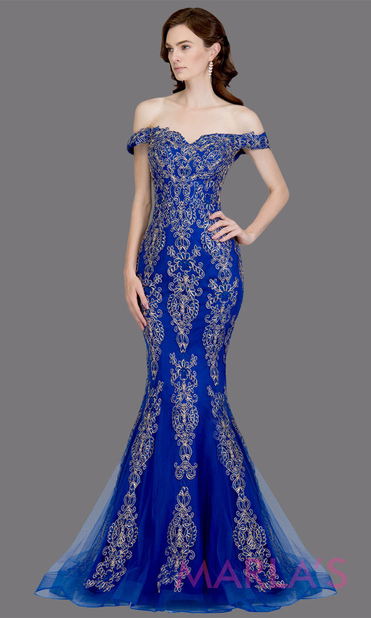 Long royal blue fitted mermaid evening gown w contrast gold lace. This off shoulder formal gown is perfect as blue prom dress, wedding reception or engagement dress, formal wedding guest dress, indowestern formal evening gown.Plus sizes avail