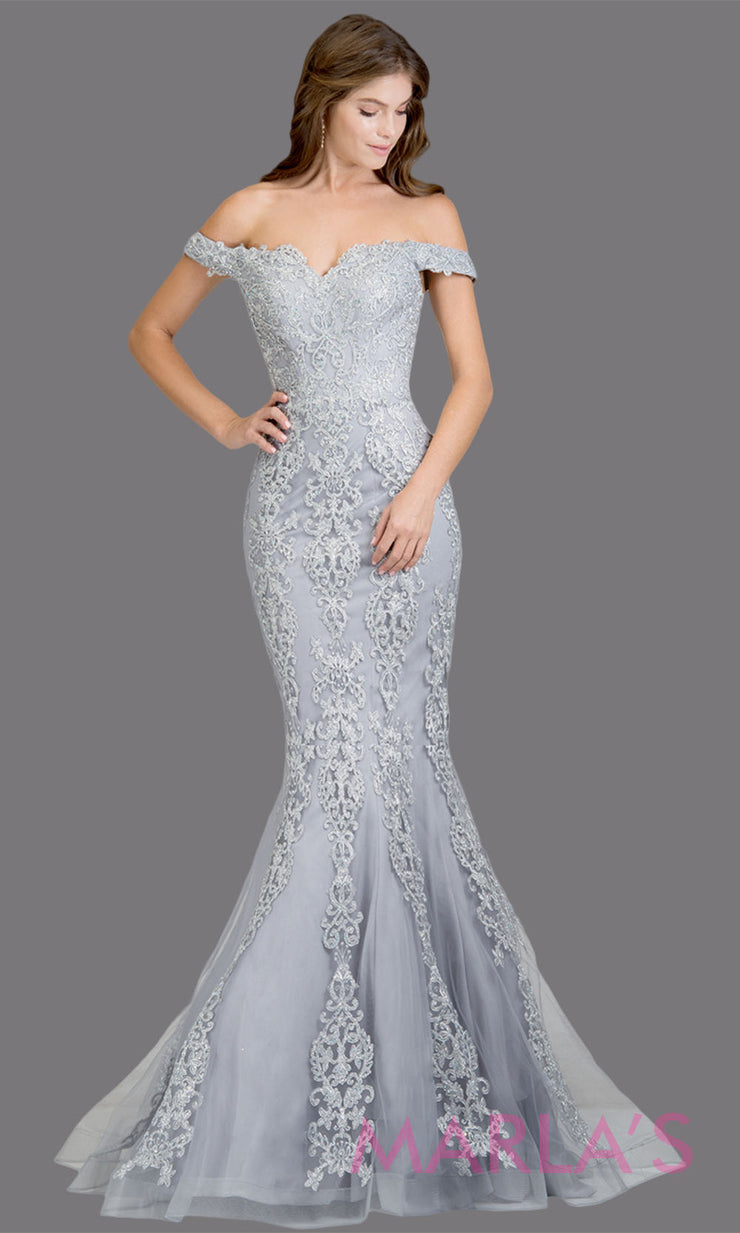 Long silver fitted mermaid evening gown w contrast gold lace. This off shoulder formal gown is perfect as gray prom dress, wedding reception or engagement dress, formal wedding guest dress, indowestern formal evening gown.Plus sizes avail