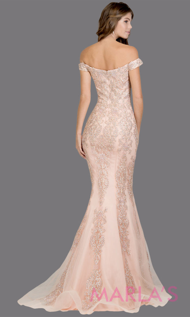 Back of Long light pink fitted mermaid evening gown w contrast gold lace. This off shoulder formal gown is perfect as pink prom dress, wedding reception or engagement dress, formal wedding guest dress, indowestern formal evening gown.Plus sizes avail