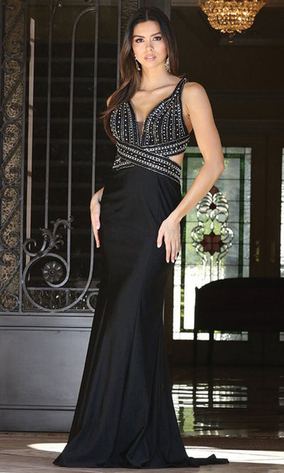 Dancing Queen - 4053 Sultry Open Back Trumpet Dress In Black