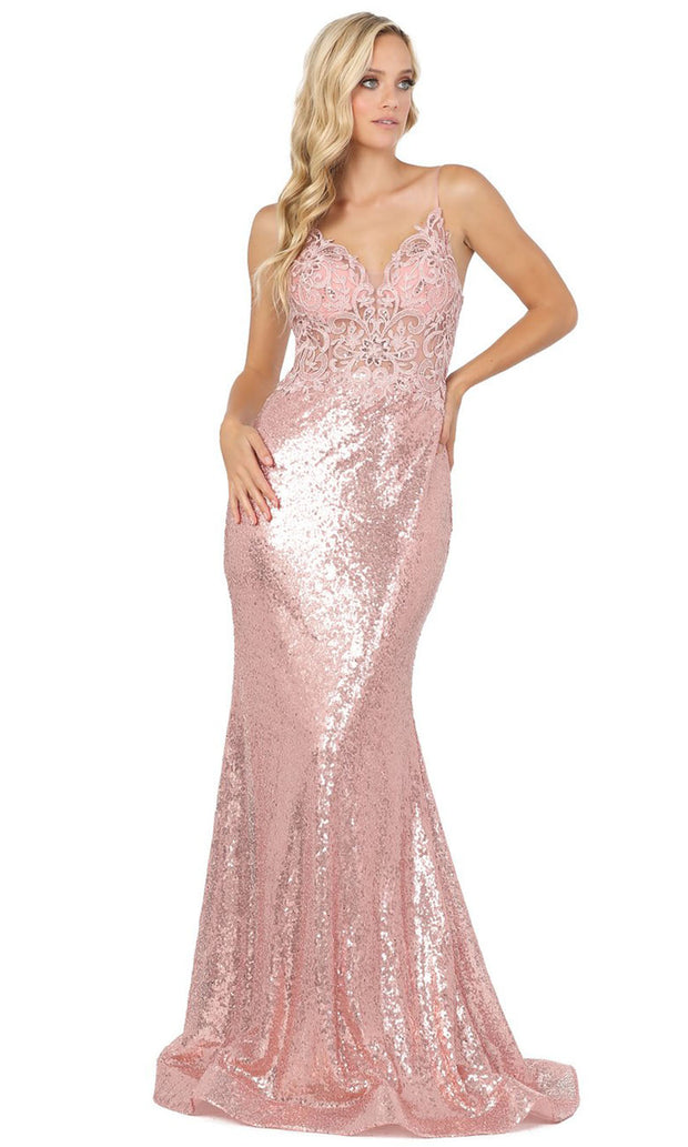 Dancing Queen - 4066 Applique Illusion Bodice Sequin Long Dress In Pink