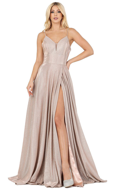 Dancing Queen - 4076 Sleeveless Glittered A-Line Slit Dress In Pink and Gold