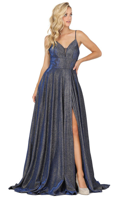 Dancing Queen - 4076 Sleeveless Glittered A-Line Slit Dress In Blue and Black