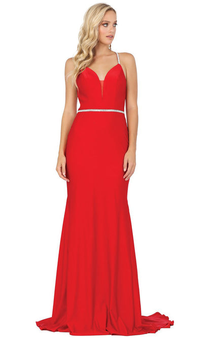 Dancing Queen - 4078 Silver-Trimmed Trumpet Long Dress In Red