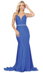 Dancing Queen - 4078 Silver-Trimmed Trumpet Long Dress In Blue