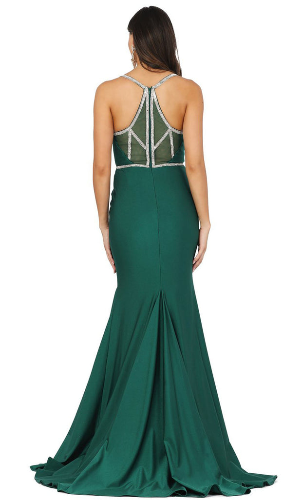 Dancing Queen - 4078 Silver-Trimmed Trumpet Long Dress In Green