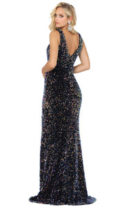 Dancing Queen - 4083 Embellished High Slit Dress In Multi