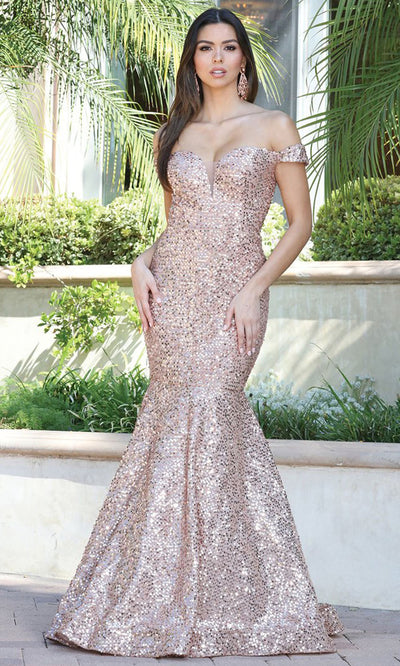 Dancing Queen - 4095 Off Shoulder Shiny Mermaid Gown In Pink and Gold
