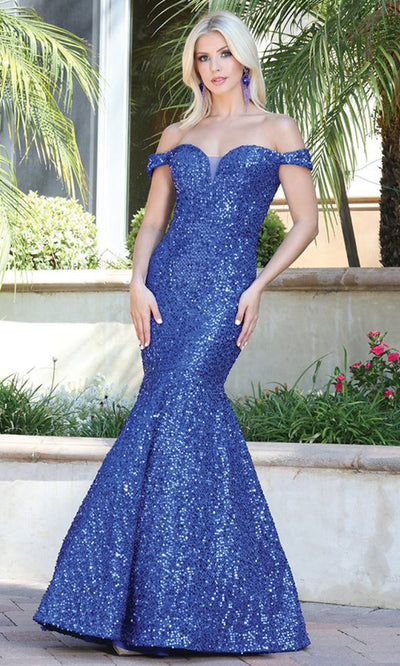 Dancing Queen - 4095 Off Shoulder Shiny Mermaid Gown In Blue