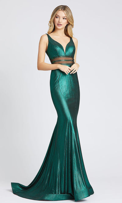 Mac Duggal - 40960L Beaded Illusion Midriff Metallic Dress In Green