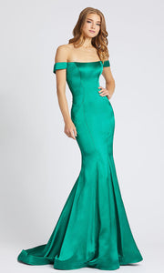 Mac Duggal - 40964L Off Shoulder Mermaid Dress With Train In Green