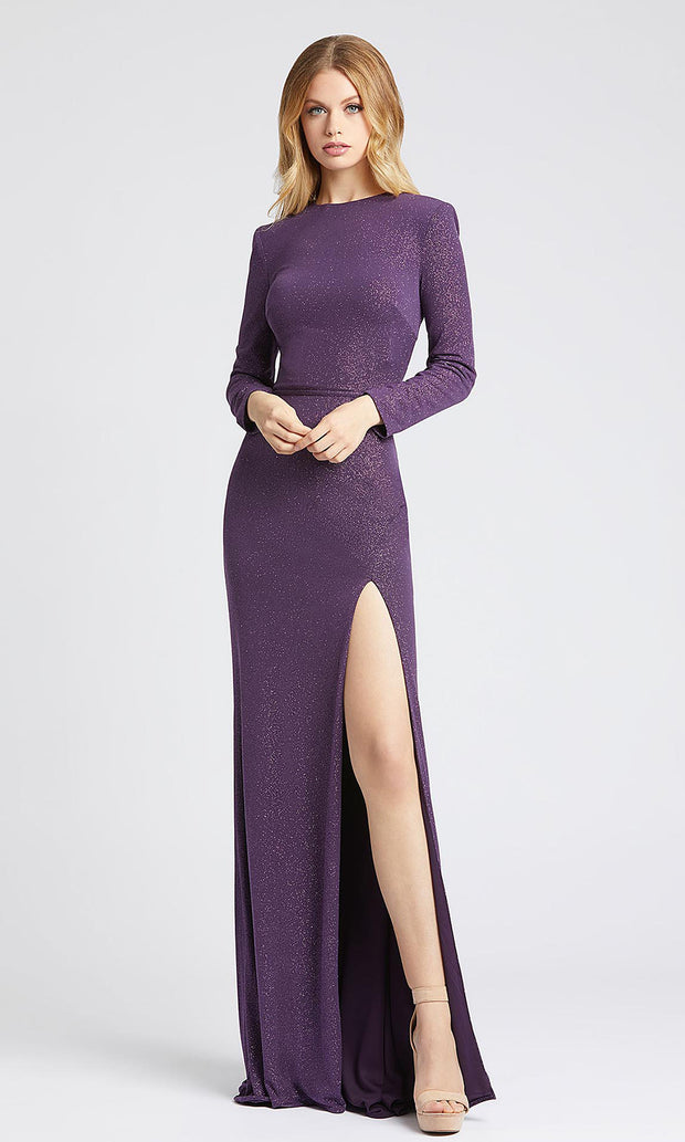 Mac Duggal - 40976L Long Sleeve Shimmer Evening Gown In Purple