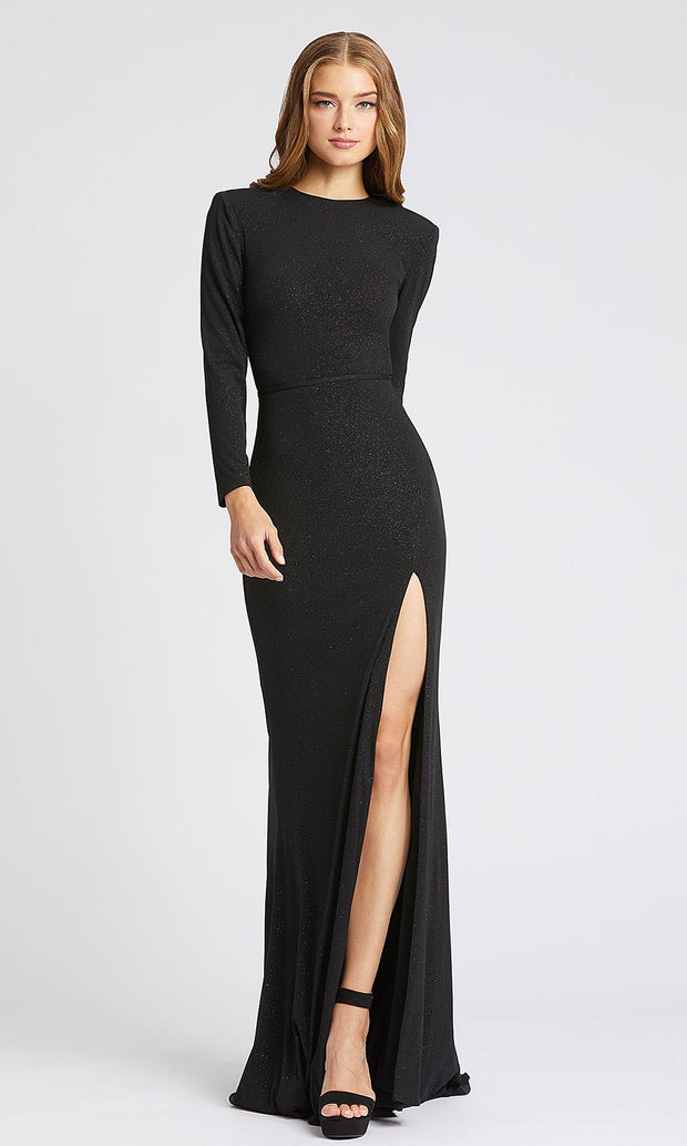Mac Duggal - 40976L Long Sleeve Shimmer Evening Gown In Black