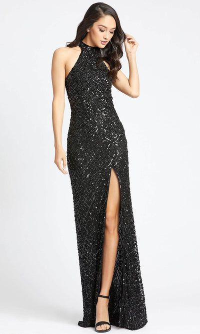 Mac Duggal - 4112L High Neck Sequined Fitted Evening Dress In Black