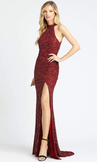 Mac Duggal - 4112L High Neck Sequined Fitted Evening Dress In Red