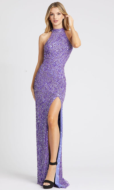 Mac Duggal - 4112L High Neck Sequined Fitted Evening Dress In Purple