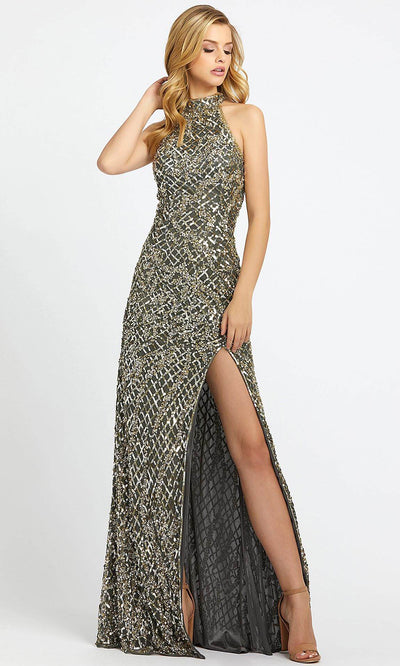 Mac Duggal - 4112L High Neck Sequined Fitted Evening Dress In Silver & Gray