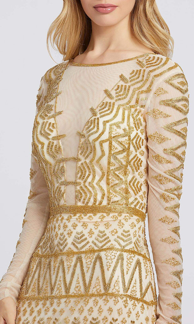 Mac Duggal - 4724A Sequin Illusion Long Sleeves Dress In Gold