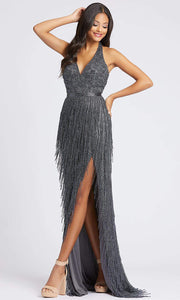 Mac Duggal - 4803A Beaded Fringe Halter V Neck Dress In Gray