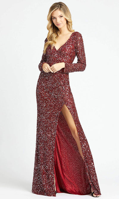 Mac Duggal - 4820A Shimmering Allover Sequin Evening Gown In Red