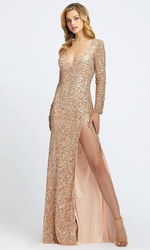 Mac Duggal - 4820A Shimmering Allover Sequin Evening Gown in Champagne & Gold