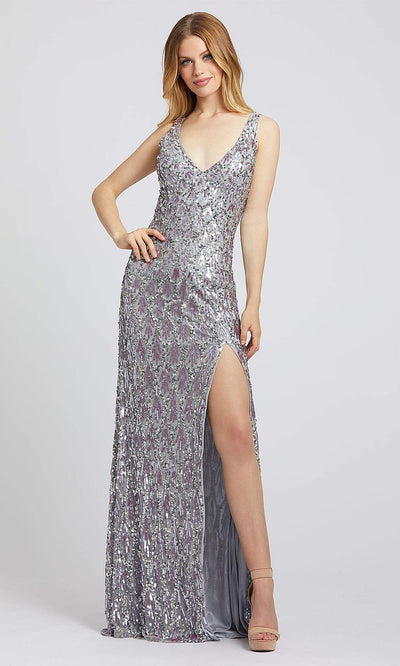 Mac Duggal - 4828L Sequin Motif High Slit Sheath Dress In Silver & Gray