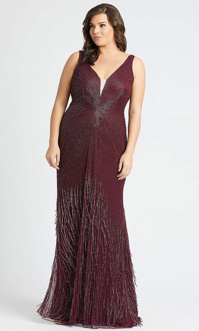 Mac Duggal - 4847F Sequin Fringe V Neck Gown In Purple