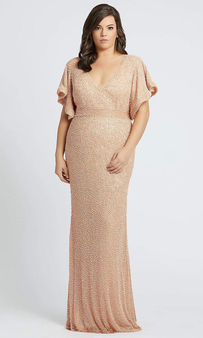 Mac Duggal - 4849F Ruffle V Neck Sheath Evening Dress In Champagne & Gold