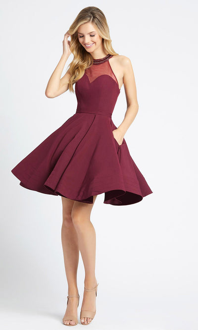 Ieena Duggal - 48551I Jeweled Halter Neck Fit And Flare Dress In Burgundy