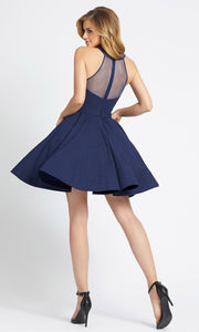 Ieena Duggal - 48551I Jeweled Halter Neck Fit And Flare Dress In Blue
