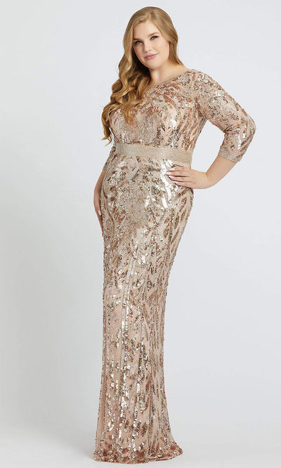 Mac Duggal - 4857F Beaded Quarter Length Sleeves Sheath Gown In Champagne & Gold
