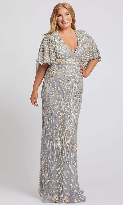 Mac Duggal - 4858F Embellished Deep V Neck Sheath Dress In Silver