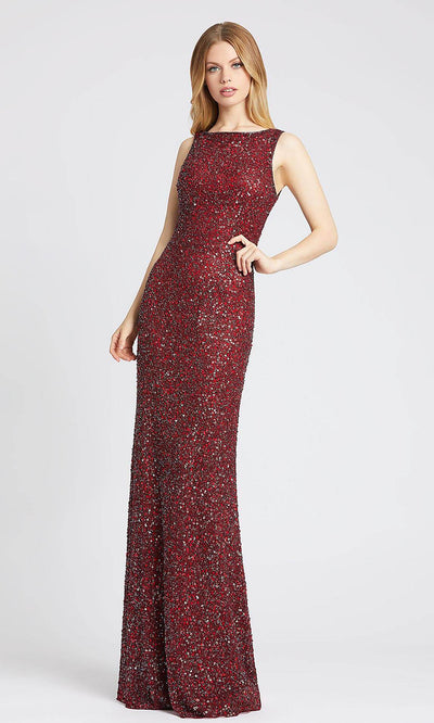 Mac Duggal - 4876L Sequined Bateau Sheath Dress In Red