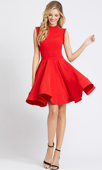 Mac Duggal - 48772L Beaded Trim Keyhole Back Cocktail Dress in red