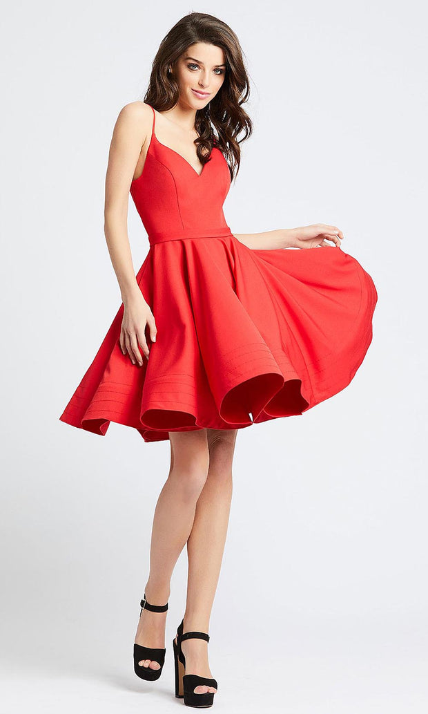 Mac Duggal - 48775I V Neck Fit And Flare Cocktail Dress In Red