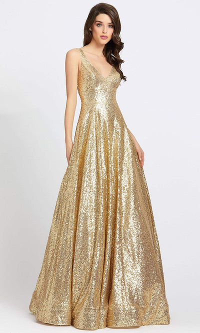 Mac Duggal - 48798A Sleeveless V Neck Sequin A-Line Gown In Gold