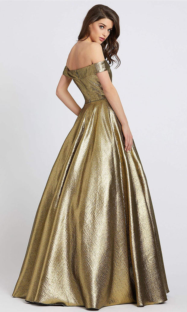 Mac Duggal - 48825I Off Shoulder Metallic A-Line Gown In Gold