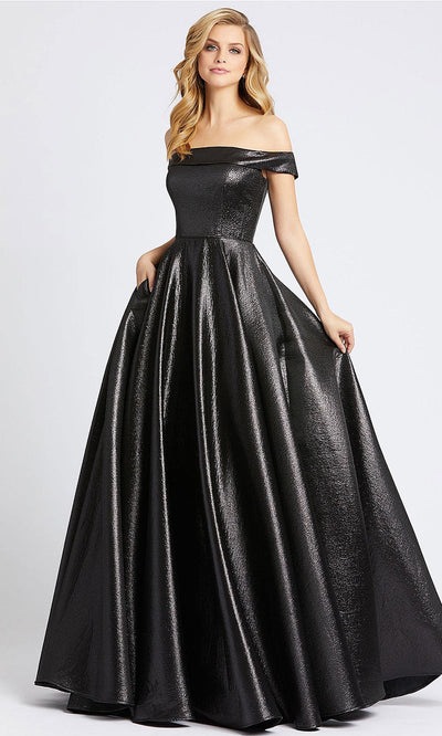 Mac Duggal - 48825I Off Shoulder Metallic A-Line Gown In Black