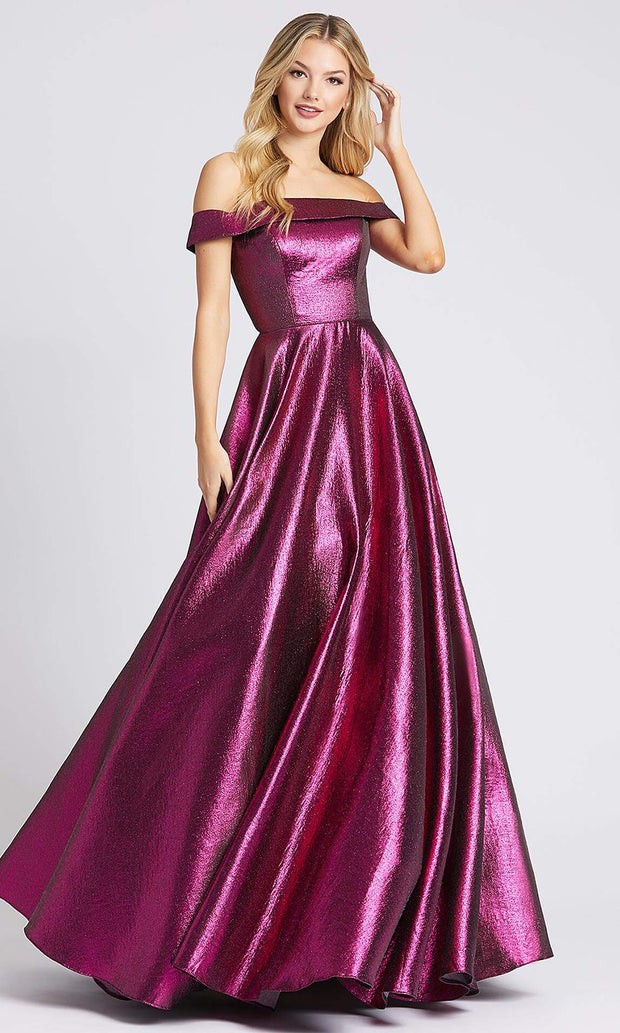 Mac Duggal - 48825I Off Shoulder Metallic A-Line Gown In Pink