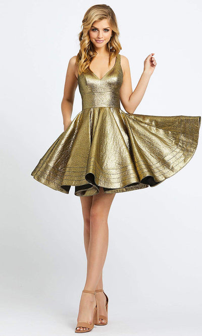 Mac Duggal - 48847I Fit And Flare Metallic Cocktail Dress In Gold